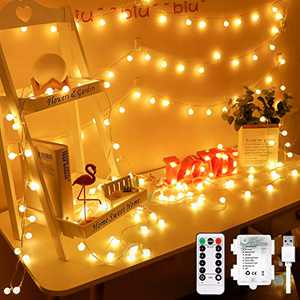 Globe String Lights for Bedroom Battery - 33ft 100 Led String Lights with Remote Controller,Battery Operated String Lights,Decorative Lights for Party/Wedding Outdoor/Indoor Garden,Christmas Lights