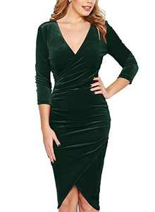 Fantaist Pencil Dress,3/4 Sleeve Velvet Bodycon Wrap V Neck Slim Holiday Party Dresses for Women Casual Fall (S, FT641-Dark Green)