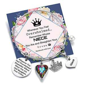 Whenever You Feel Overwhelmed Remember Whose Niece You Are Bracelet Straighten Your Crown Bracelet, Niece Gifts From Aunt Engraved Inspirational Mantra Bracelet for Niece (Niece Crown Bracelet)