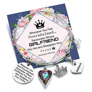 Whenever You Feel Overwhelmed Remember Whose Girlfriend Bracelet Straighten Your Crown Bracelet, Engraved Message Inspirational Bnagle Charm Bracelet for Girlfriend Gifts (Girlfriend Crown Bracelet)