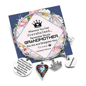 Whenever You Feel Overwhelmed Remember Whose Grandmother Bracelet Straighten Your Crown Bracelet, Grandma Gifts Inspirational Expandable Charm Bracelets for Grandmother (Grandmother Crown Bracelet)