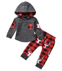 Infant Baby Boys Girls Clothes Hoodie Plaid Pocket Sweatshirt Jackets Shirt+Pants 2PCS Clothes Set (18-24 Months, Christmas)
