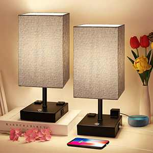 Bedside Lamp, 3 Way Dimmable Touch Control Table Lamp with 2 USB Charging Ports 2 AC Outlet, Nightstand Lamp with Grey Fabric Shade Bedroom Lamp for Bedroom for Living Room, Reading, Office, Set of 2