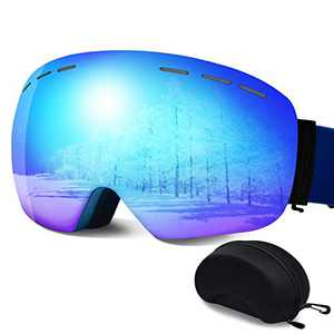 ERUW Ski Goggles - Frameless Anti-Fog Over Glasses Snowboard Goggles with UV Protection Windproof Helmet Compatible Dual Lens Goggles for Skiing & Skating & Outdoor Sport