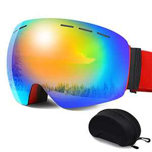 Ski Goggles - Frameless Anti-Fog Over Glasses Snowboard Goggles with UV Protection Windproof Helmet Compatible Dual Lens Goggles for Skiing & Skating & Outdoor Sport
