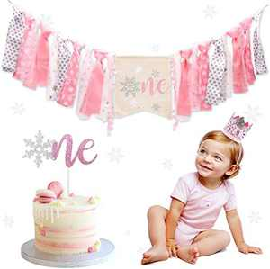 Winter Onederland Highchair Banner, Snowflake One Cake Topper Pink & Silver Crown Hat For Baby Girls Winter First Birthday Party Decorations …