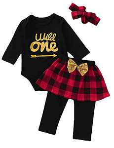 Shalofer Baby Girl Wild One Skirt Set Toddler Plaid Outfit Set with Headband (Plaid-Black,12-18 Months)