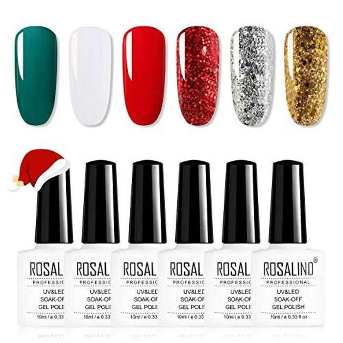 ROSALIND Gel Nail Polish Set 6 Colors 10ml Set Soak Off Varnish Semi Permanent Gel Manicure Beauty Nails Art Need UV Nail Lamp Gel Nail Varnish Sets Red White Green Glitter Christmas Kit