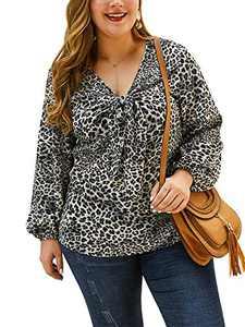 CHARLES RICHARDS Women's Plus Size Tunic Tops Long Sleeves Leopard Knot Basic Blouse Shirt Blue