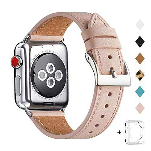 Bestig Band Compatible for Apple Watch 38mm 40mm 42mm 44mm, Genuine Leather Replacement Strap for iWatch Series 6 SE 5 4 3 2 1, Sports & Edition (Pink Sand Band+Silver Adapter, 42mm 44mm)