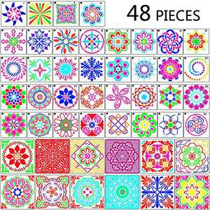 48 Pieces Mandala Stencils Mandala Dotting Painting Templates for DIY Painting Art Projects Wood Glass Fabric Metal Walls, 6 x 6 Inches, 3.6 x 3.6 Inches