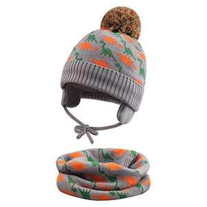 FUOITA Baby Winter Hat Infinity Scarves Set Knit Warm Pom-pom Beanie Cap for Boys Girls