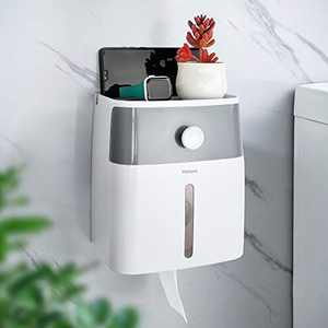 YOHOM Toilet Paper Roll Holder Adhesive Wall Mount Facial Tissue Storage Box Paper Towel Dispenser with Shelf and Drawer for Bathroom Wet Room Waterproof No Drilling, White and Gray