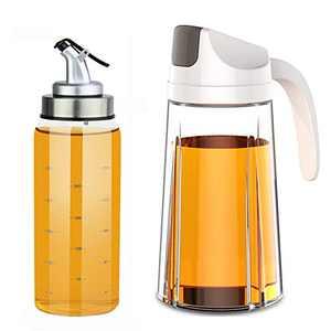 Ctcwsh Auto Flip Olive Oil Dispenser Bottle 20 OZ And Olive Oil Dispenser Bottle 10 Oz,2 Pack Set Oil Vinegar Condiment Holders Dispenser Cruets For Kitchen (20 Oz & 10 Oz Set)
