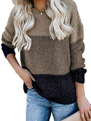 CharmYee Womens Color Block Oversized Crew Neck Sweater Striped Batwing Long Sleeve Pullover Loose Jumper Apricot
