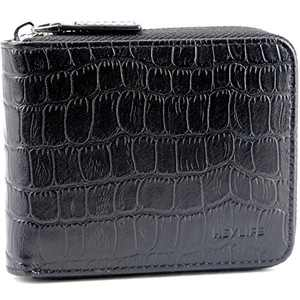 Mens Zipper Wallet Leather Rfid Blocking Multi-Card Cases Bifold Purse Black F