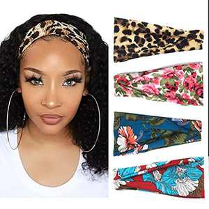 Fstrend Boho Headbands Stretchy Athletic Headbands Floral Style Criss Cross Sweatband Yoga Head Wrap Workout Hair Accessories for Women and Girls (Pack of 4)