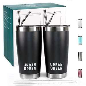 20oz Stainless Steel Tumblers with Lids by Urban Green, Vacuum Insulated Coffee Cup Mug, Double Wall, Spill-Proof Tumblers, 2 Pack, 4 Straws, 2 Pipe Brush, Father's Day Gift (Knight Black)