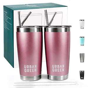 20oz Stainless Steel Tumblers with Lids Urban Green,Vacuum Insulated Coffee Cup Mug, Double Wall Travel tumbler with Spill-Proof Lid, 2 Pack, 4 Straws, Pipe Brush, Best gift for women (Rose Gold)