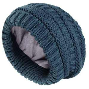 Camptrace Winter Beanie Hats for Women Cable Knit Fleece Lining Warm Hats Slouchy Thick Skull Cap (Pure Blue, Adult Size)