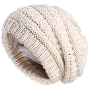 Camptrace Winter Beanie Hats for Women Cable Knit Fleece Lining Warm Hats Slouchy Thick Skull Cap (Pure Beige, Adult Size)