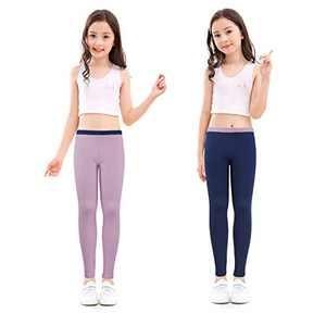 slaixiu Cotton Ankle Length Girls Leggings Stretchy Kids Pants 3-12y(GP04_Navy&Purple_110)