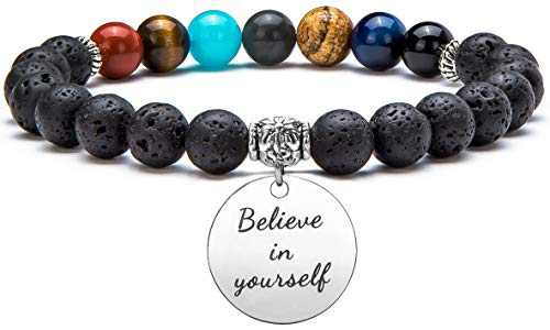 Hamoery Graduation Gifts for Her him 2020 Men Women 8mm Lava Bracelet Aromatherapy Essential Oil Diffuser Anxiety Bracelet Elastic Stone Yoga Beads Bracelet(Believe In Yourself)