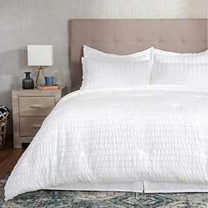 Bedsure Bed in A Bag King Comforter Set 8 Pieces, Soft Microfiber Seersucker Bedding Sets (2 Pillowcases, 2 Pillow Shams, 1 Comforter, 1 Flat Sheet, 1 Fitted Sheet, 1 Bed Skirt), White