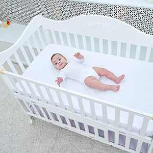 """PPOGOO Waterproof Crib Mattress Protector Quilted Fitted Toddler & Baby Crib Mattress Pad Cover Breathable &Noiseless, White, 52"""" x 28"""""""