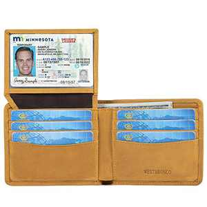WESTBRONCO Genuine Leather Bifold Wallet for Men RFID Blocking Slim Credit Card Holder with 2 ID Windows