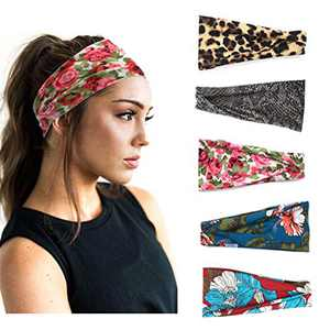 Barode Boho Headbands Stretchy Athletic Headbands Floral Style Criss Cross Sweatband Yoga Head Wrap Workout Hair Accessories for Women and Girls (Pack of 5)