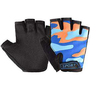 Kids Cycling Gloves, Freehawk Non-Slip Ultrathin Children Half Finger Bicycle Cycling Breathable Gloves Roller-Skating Gloves for Fishing, Cycling, Roller Skating and Climbing in Summer (Orange camo)