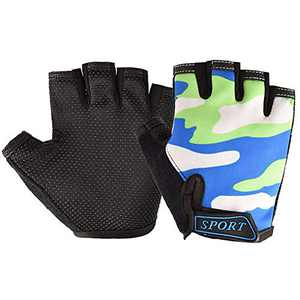 Kids Cycling Gloves, Freehawk Non-Slip Ultrathin Children Half Finger Bicycle Cycling Breathable Gloves Roller-Skating Gloves for Fishing, Cycling, Roller Skating and Climbing in Summer (Blue camo)