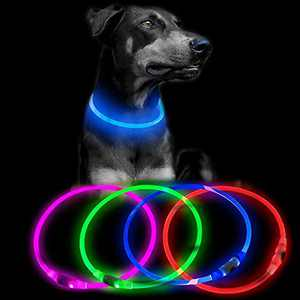 Clan-X LED Dog Collar, Glowing in The Dark Flashing Pet Collar, Rechageable Cuttable TPU Light Up Dog Lights, Safety Basic Dog Necklace, TPU Light Up Dog Lights for Night Walking(Blue)