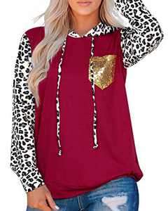 Women's Leopard Long Sleeve Hoodies Drawstring Camouflage Pullover Sweatshirt With Pocket Casual Fashion Top