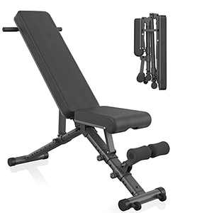 BARWING Adjustable Weight Bench- 800 lbs Folding Full Body Workout Bench with Dragon Flag, Automatic Lock Multi-Purpose Incline/Flat/Decline Bench for Home Gym Strength Training Bench Black