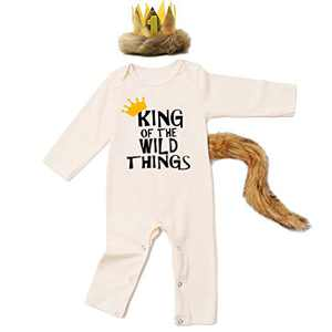 Baby Boy Halloween Costume Outfits King of The Wild Things Romper with Crown and Tail (Beige,3-6 Months)