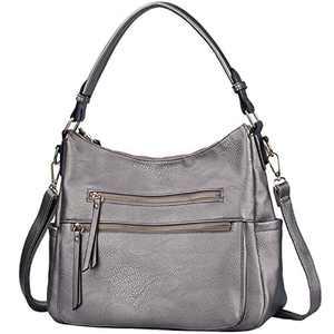 Handbags JOYSON Crossbody Bags PU Leather Hobo Shoulder Bag Multi-pocket Top-Handle Purse Silver Grey