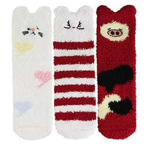 Benefeet Sox Novelty Fuzzy Slipper Socks for Women Girls Animal Pack Home Winter Warm Cozy Plush Socks (3 Pack-Pig,cat,Rabbit)
