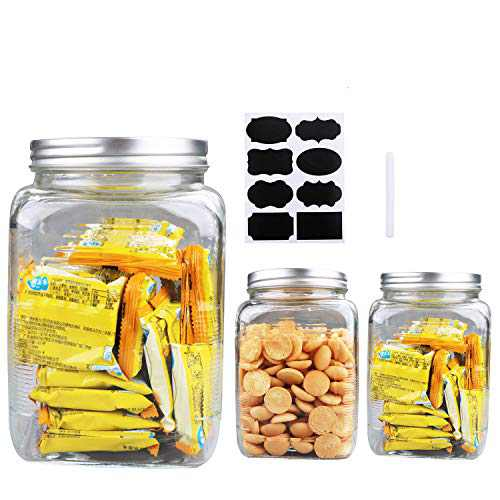 100oz / 3000ml Clear Mason Jar With Lids, Flrolove Airtight Glass Jars With Lid, Clear Square Jars Perfect for Food Storage, Cookies, Canning, Pasta, Beans and Oats, Set of 3