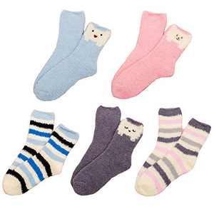 Womens Girls Funny Novelty Slipper Socks Cute Cartoon Silly Comfy Floor Fuzzy Socks Plush Fluffy Sleeping Hospital Socks 5 Pairs,Stripe Cat