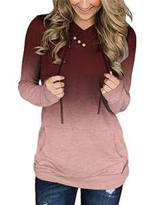 KISSMODA Womens Long Sleeve Pullover Hoodie Tunic Sweatshirts with Buttons Ombre Color Block Sweatshirt, Red, Size L