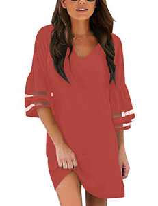 LookbookStore Women's Casual V Neck Mesh Panel 3/4 Tiered Ruffle Bell Sleeve Loose Short Shift Tea Rose Dress Size Small