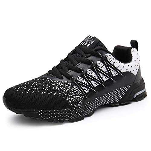 UBFEN Womens Running Shoes Fashion Sneakers Sports Casual Footwear Walking Fitness Jogging Athletic Indoor Outdoor 6 Women / 5.5 Men US A Whiteblack
