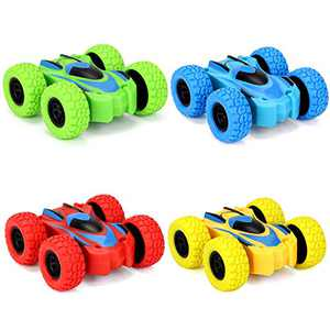 4 PCS Double Sided Friction Powered Car Dumper Truck 360° Rotation Inertia Push and Go Cars Party Toys for 5 6 7 8 Year Old Boys Girls Kid Toddlers