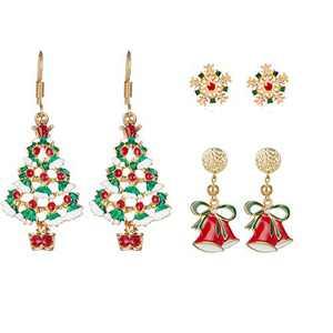 Lenias Christmas Earrings Festive Jewelry Set for Womens Christmas Santa Claus Snowman Snowflake Deer Sock Tree Jingle Bell Hairball stud tassel Drop Dangle Ear rings Cute Holiday Gifts