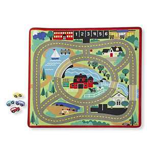 Melissa & Doug Round the Town Road Rug & Car Set (Cars & Trucks, Safe for All Floors, 4 Wooden Cars, Frustration-Free Packaging)