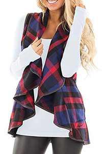 Sleeveless Women Color Block Lapel Open Front Plaid Vest Cardigan with Pockets Blue