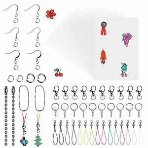 BAPHILE 301PCS Shrink Art Plastic Sheets Kit Include 20PCS Clear Frosted Heat Shrinky Paper with 281PCS Keychains Accessories for Adults Kids Creative Craft School Project
