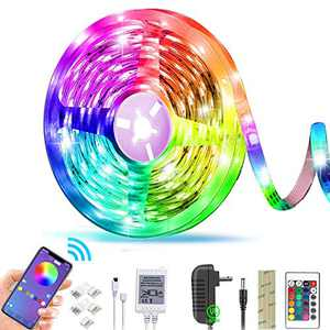LED Strip Lights with Bluetooth APP and Remote Controller ,Color Changing Rope Light Strip 16.4ft/5M RGB 5050 LED Tape Lights for Home Lighting Kitchen Bed TikTok Lights for Bar Home Decoration